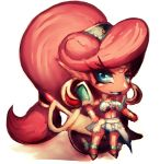 1girl blue_eyes breasts chibi dark_skin fumio_(rsqkr) gerudo hand_on_hip large_breasts lipstick long_hair looking_at_viewer makeup pointy_ears ponytail simple_background solo sword the_legend_of_zelda the_legend_of_zelda:_breath_of_the_wild thighs urbosa very_long_hair weapon white_background