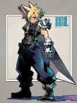 1boy blonde_hair boots brown_gloves buster_sword cloud_strife final_fantasy final_fantasy_vii fujimoto_hideaki full_body gloves green_eyes muscle serious shoulder_armor sleeveless sleeveless_turtleneck solo spiky_hair standing suspenders sword turtleneck weapon weapon_on_back