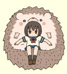 1girl animal beige_background black_legwear blue_sailor_collar blue_skirt blush_stickers bow brown_eyes brown_footwear brown_hair closed_mouth commentary_request full_body hedgehog loafers looking_at_viewer original oversized_animal pleated_skirt red_bow sailor_collar school_uniform serafuku shirt shoes short_hair short_sleeves simple_background skirt socks solo white_shirt yukimoto_shuuji_(gurigura)
