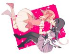 2girls akemi_homura argyle argyle_legwear black_hair black_hairband black_legwear bubble_skirt closed_eyes commentary dutch_angle floating floating_hair full_body gloves hair_ribbon hairband holding_hands interlocked_fingers kaname_madoka kiss kiss_day long_hair mahou_shoujo_madoka_magica multiple_girls pc_(z_yu) pink_background pink_footwear pink_hair pink_ribbon pleated_skirt profile puffy_short_sleeves puffy_sleeves purple_skirt ribbon shiny shiny_hair short_sleeves short_twintails simple_background skirt socks sparkle sparkle_background twintails two-tone_background white_background white_gloves white_legwear yuri