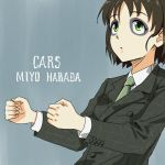 1girl album_cover anbj arms_up bangs black_hair closed_mouth collared_shirt commentary_request cosplay cover english_text expressionless eyebrows_visible_through_hair facial_mark formal gary_numan green_eyes green_neckwear harada_miyo idolmaster idolmaster_cinderella_girls invisible_object long_sleeves makeup necktie parody pose shirt short_hair simple_background solo suit upper_body white_shirt
