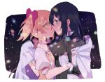 2girls akemi_homura bangs black_dress black_hair black_hairband blurry blush bokeh capelet choker commentary dark_background depth_of_field dress expressionless eye_contact eyebrows_visible_through_hair flat_chest gloves hair_ribbon hairband imminent_kiss kaname_madoka long_hair looking_at_another mahou_shoujo_madoka_magica multiple_girls night night_sky parted_lips pc_(z_yu) pink_choker pink_eyes pink_hair pink_neckwear pink_ribbon profile puffy_short_sleeves puffy_sleeves ribbon short_sleeves short_twintails simple_background sky star_(sky) starry_sky symbol_commentary twintails upper_body violet_eyes white_background white_gloves yuri