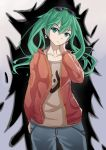 1girl absurdres bra_strap cowboy_shot earrings eyewear_on_head frown green_eyes green_hair hand_on_own_neck hatsune_miku highres jacket jewelry maomao_zaici pants solo suna_no_wakusei_(vocaloid) sunglasses twintails vocaloid