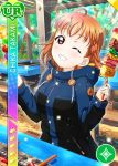 blush character_name food jacket love_live!_school_idol_festival love_live!_sunshine!! orange_hair red_eyes short_hair takami_chika wink