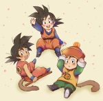 3boys arm_up ayo_(isy8800) chinese_clothes dougi dragon_ball dragon_ball_(classic) dragon_ball_(object) dragon_ball_z hat male_focus monkey_tail multiple_boys open_mouth power_pole smile son_gohan son_gokuu son_goten tail time_paradox