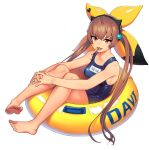 1girl barefoot blue_swimsuit brown_eyes brown_hair cain_(gunnermul) character_name collarbone davi_(destiny_child) destiny_child full_body hair_ornament highres innertube knees_up long_hair looking_at_viewer mouth_hold one-piece_swimsuit open_mouth simple_background sitting solo swimsuit twintails very_long_hair white_background