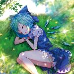 1girl ^_^ absurdres arm_up ass bare_legs blue_bow blue_dress blue_hair blush bow cirno closed_eyes commentary_request dress feet_out_of_frame grass hair_bow hand_up highres ice ice_wings knees_up light_rays lying on_side open_mouth outdoors panties panty_peek pinafore_dress puffy_short_sleeves puffy_sleeves shirt short_dress short_hair short_sleeves sleeping solo sparkle thighs touhou underwear white_panties white_shirt wings yamanakaume