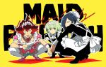 3boys alternate_costume apron blue_hair boxers catgirl0926 crossdressing enmaided frills green_hair gueira hair_over_one_eye lio_fotia long_hair looking_at_viewer mad_burnish maid maid_apron maid_headdress male_focus meis_(promare) multiple_boys open_mouth promare puffy_short_sleeves puffy_sleeves redhead short_hair short_sleeves slav_squatting squatting underwear violet_eyes waist_apron