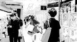 1girl 2boys akihabara_(tokyo) bag commentary crane_game goshiki_suzu idolmaster idolmaster_shiny_colors long_hair mayuzumi_fuyuko monochrome multiple_boys otaku real_world_location school_uniform shopping_bag surgical_mask watch watch wifi_symbol