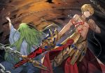 2boys absurdres arm_up armor back-to-back blonde_hair chain chyoel ea_(fate/stay_night) earrings enkidu_(fate/strange_fake) fate_(series) floating_hair gilgamesh green_hair highres holding holding_sword holding_weapon jewelry long_hair multiple_boys necklace parted_lips red_eyes sword very_long_hair weapon