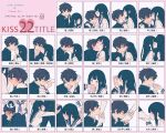 1boy 1girl arm_kiss bangs between_breasts black_hair black_sailor_collar black_skirt blue_neckwear blush breasts character_name chart cheek_kiss chitanda_eru closed_eyes closed_mouth female_pov finger_kiss foot_kiss forehead_kiss gakuran green_eyes hair_kiss hand_blush hand_kiss heart hetero highres hug hyouka japanese_text kiss kiss_chart korean_text leg_kiss long_hair mery_(apfl0515) neck_kiss neckerchief one_eye_closed oreki_houtarou parted_lips pink_background pleated_skirt pov sailor_collar school_uniform serafuku shirt simple_background skirt socks speech_bubble spoken_squiggle squiggle thigh_kiss translation_request violet_eyes white_legwear white_shirt