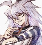 1boy bakura_ryou blue_shirt brown_eyes card commentary_request dark_necrofear evil_grin evil_smile grin highres holding holding_card long_hair open_mouth shirt simple_background sketch smile solo sookmo spiky_hair striped striped_shirt teeth white_background white_hair white_shirt yami_bakura yuu-gi-ou yuu-gi-ou_duel_monsters