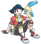 1boy ;d artist_request black_gloves black_hair blue_eyes capture_styler creature eye_contact fingerless_gloves full_body gen_3_pokemon gloves happy highres kazuki_(pokemon) looking_at_another minun official_art one_eye_closed open_mouth pokemon pokemon_(creature) pokemon_(game) pokemon_on_arm pokemon_ranger pokemon_ranger_1 pokemon_ranger_uniform sitting smile transparent_background