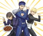 3boys :d black_jacket blonde_hair blue_bodysuit blue_hair bodysuit brown_eyes brown_hair cross cross_necklace dress_shirt fate/stay_night fate_(series) food gilgamesh holding jacket jewelry kotomine_kirei lancer long_sleeves looking_at_viewer male_focus mapo_doufu multiple_boys necklace open_clothes open_jacket open_mouth red_eyes shirt shoulder_armor smile spaulders standing suikatabetaifrom white_shirt