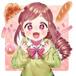 1girl bangs bow bread brown_hair commentary_request drill_hair eyebrows_visible_through_hair fang food hair_ornament highres idolmaster idolmaster_cinderella_girls long_hair long_sleeves looking_at_viewer oohara_michiru pink_bow pink_eyes pink_scurnchie saliva saliva_trail shirt solo star star_in_eye striped striped_bow sweater symbol_in_eye taemin upper_body white_shirt