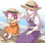2girls alternate_costume bracelet closed_eyes closed_mouth dress facial_mark fae_(fire_emblem) fire_emblem fire_emblem:_the_binding_blade flower forehead_mark green_eyes hat hat_flower heterochromia idunn_(fire_emblem) jewelry ksw_f_m_d long_hair manakete multiple_girls open_mouth pointy_ears purple_hair red_eyes sandals short_hair sitting straw_hat