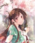 1girl brown_eyes brown_hair cherry_blossoms cover earrings highres jewelry kanojo_okarishimasu long_hair looking_at_viewer mizuhara_chizuru official_art outdoors outstretched_arm smile solo spring_(season) upper_body