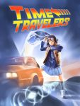 1girl back_to_the_future brown_eyes brown_hair commentary_request cosplay delorean eyewear_on_head kneehighs looking_at_watch marty_mcfly marty_mcfly_(cosplay) miniskirt movie_poster parody pizza_man pleated_skirt road scarf shindo_mikoto skirt solo time_travelers vest