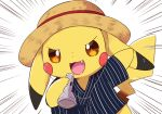 :3 arm_up blue_shirt blush_stickers brown_headwear clothed_pokemon emphasis_lines fang gen_1_pokemon hand_up happy hat holding japanese_clothes kemoribon looking_at_viewer no_humans open_mouth orange_eyes pikachu pokemon pokemon_(creature) shirt short_sleeves simple_background smile solo standing straw_hat striped striped_shirt upper_body white_background