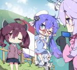 4girls :q ;d ahoge bangs beret black_dress black_footwear black_skirt blue_dress blue_eyes blue_hair blue_sky blush brown_eyes brown_jacket closed_mouth clouds cloudy_sky collared_shirt commentary_request day dress dress_shirt eyebrows_visible_through_hair fang fence food glasses hair_between_eyes hair_ornament hairclip hat headgear highres holding holding_food ice_cream ice_cream_cone jacket kizuna_akari kneehighs long_hair long_sleeves milkpanda multiple_girls one_eye_closed open_mouth otomachi_una outdoors profile purple_hair purple_jacket red-framed_eyewear red_eyes semi-rimless_eyewear shirt shoes skirt sky sleeveless sleeveless_dress sleeves_past_wrists smile standing tilted_headwear tongue tongue_out touhoku_kiritan twintails under-rim_eyewear v very_long_hair violet_eyes vocaloid voiceroid white_headwear white_legwear white_shirt yuzuki_yukari
