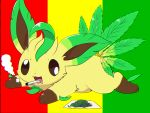 :3 brown_sclera chromatic_aberration cigarette drooling full_body gen_4_pokemon happy highres kemoribon leafeon lying marijuana mouth_hold multiple_tails no_humans on_stomach open_mouth paper paws pokemon pokemon_(creature) rastafarian_flag saliva simple_background smile smoke smoking solo tail white_eyes