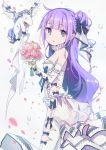 1girl azur_lane bare_shoulders blue_eyes commentary doll dress eyebrows_visible_through_hair flower hair_ornament hair_ribbon highres lace long_hair neck_ribbon purple_hair ribbon solo thigh-highs unicorn_(azur_lane) user_stsw3475 wedding_dress white_legwear white_sleeves