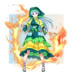 1girl apron arm_ribbon art_supplies bangs between_fingers blue_hair breasts dress dual_wielding eyebrows_visible_through_hair fire flower frilled_apron frilled_dress frilled_hat frilled_sleeves frills full_body gradient green_apron green_headwear green_ribbon hammer haniyasushin_keiki hat head_scarf headdress highres holding holding_hammer holding_knife jewelry knife long_hair looking_at_viewer magatama magatama_necklace necklace open_mouth pliers pocket puffy_sleeves ribbon sandals simple_background smile solo standing tools touhou vh(yuv-achi) violet_eyes wily_beast_and_weakest_creature yellow_dress