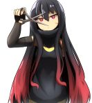 1girl absurdres bangs bare_shoulders black_dress black_gloves black_hair breasts commentary_request dress elbow_gloves eyebrows_visible_through_hair facial_mark fingerless_gloves gloves gradient_hair hair_between_eyes highres holding holding_scissors idaten93 long_hair looking_at_viewer multicolored_hair original parted_lips red_eyes redhead scissors simple_background sleeveless sleeveless_dress small_breasts solo upper_body very_long_hair white_background