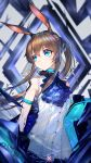 1girl absurdres amiya_(arknights) animal_ears arknights ascot bangs bare_shoulders black_jacket blue_eyes blue_neckwear blurry blurry_background brown_hair choker closed_mouth commentary_request frilled_ascot frilled_shirt frills hair_between_eyes highres jacket long_hair looking_to_the_side mahousho open_clothes open_jacket ponytail rabbit_ears shirt sidelocks sleeveless sleeveless_shirt solo sweatdrop upper_body white_shirt