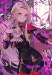 1girl absurdres blonde_hair cape closed_mouth cravat edelgard_von_hresvelg fire_emblem fire_emblem:_three_houses floating_hair gloves hair_ornament hair_ribbon hand_on_own_chest hand_up highres juliet_sleeves long_hair long_sleeves looking_at_viewer magic outstretched_arm pantyhose pink_eyes puffy_sleeves purple_ribbon red_cape red_legwear ribbon shiny shiny_hair sidelocks smile solo standing uniform very_long_hair white_gloves wind window yami_no_teyon