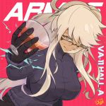 1girl alma_armas blonde_hair breasts cocktail cocktail_glass commentary cup drinking_glass english_commentary glasses highres large_breasts little_ouji long_hair looking_at_viewer mechanical_hands orange_eyes over-rim_eyewear pants ribbed_sweater semi-rimless_eyewear smile solo sweater va-11_hall-a