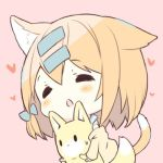 1girl animal animal_ear_fluff animal_ears bangs blush brown_jacket cat_ears cat_girl cat_tail chibi closed_eyes commentary_request eyebrows_visible_through_hair fox hair_between_eyes hair_ornament hairclip heart iku_kurumi jacket lowres off_shoulder original p19 parted_lips pink_background simple_background solo sweat tail