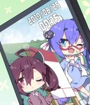 2girls ;d ahoge beret blue_dress blue_eyes blue_hair blue_sky blush brown_jacket cellphone_picture collared_shirt commentary_request dated day dress dutch_angle green_background hair_ornament hairclip hat headgear highres jacket kneehighs long_hair long_sleeves milkpanda multiple_girls one_eye_closed open_mouth otomachi_una outdoors shirt sky sleeves_past_wrists smile standing tilted_headwear touhoku_kiritan twintails v very_long_hair vocaloid voiceroid white_headwear white_legwear white_shirt