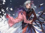 2girls absurdres black_dress bug butterfly cardigan chyoel dress fate/stay_night fate_(series) floating_hair grey_background hair_ribbon highres insect long_dress long_hair long_sleeves matou_sakura multiple_girls open_cardigan open_clothes pink_cardigan pink_ribbon purple_hair ribbon shiny shiny_hair silver_hair striped vertical-striped_dress vertical_stripes white_dress wrist_grab