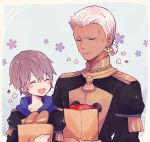 2boys ashe_duran bag blush bread closed_eyes dark_skin dedue_molinaro earrings epaulettes fire_emblem fire_emblem:_three_houses flower food freckles grey_hair jewelry male_focus multiple_boys open_mouth paper_bag tomato uniform upper_body yataba_888