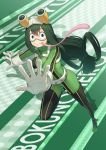 1girl :> anarchojs asui_tsuyu black_eyes black_footwear bodysuit boku_no_hero_academia boots breasts commentary_request copyright_name eyebrows_visible_through_hair frog_girl full_body gloves goggles goggles_on_head green_footwear green_hair hair_between_eyes hair_rings highres large_breasts long_hair long_tongue looking_at_viewer low-tied_long_hair skin_tight solo thigh-highs thigh_boots tongue tongue_out white_gloves