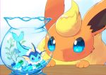 blue_eyes blue_sclera blush bubble chromatic_aberration closed_mouth fishbowl flareon full_body gen_1_pokemon kemoribon light_blush looking_at_another no_humans pawpads paws pokemon pokemon_(creature) swimming vaporeon water