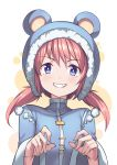 1girl :d animal_ears animal_hood bangs bear_ears bear_hood blue_eyes blue_jacket detached_hood eyebrows_visible_through_hair fake_animal_ears fang fur-trimmed_hood fur_trim grin hair_between_eyes hands_up hood hood_up jacket long_hair long_sleeves looking_at_viewer low_twintails nieve_(rabi_ribi) official_art open_mouth pom_pom_(clothes) rabi-ribi redhead saiste simple_background smile solo twintails upper_body v-shaped_eyebrows wide_sleeves