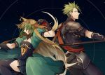 1boy 1girl achilles_(fate) ahoge animal_ears arm_strap armor atalanta_(fate) back-to-back blonde_hair boots breasts fate/apocrypha fate/grand_order fate_(series) gloves gradient_hair green_eyes green_hair highres holding holding_spear holding_weapon long_hair looking_at_viewer multicolored_hair nan_(nanyayyay) open_mouth pleated_skirt polearm puffy_short_sleeves puffy_sleeves short_sleeves skirt small_breasts spear thigh-highs very_long_hair weapon yellow_eyes