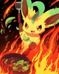 :3 arm_up black_background brown_sclera cooking fang fire frying_pan gen_4_pokemon happy highres holding kemoribon leafeon lettuce no_humans open_mouth pokemon pokemon_(creature) red_eyes simple_background smile solo spatula