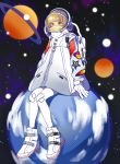 1girl absurdres backpack bag bangs blunt_bangs brown_eyes clouds covered_mouth full_body gloves headgear highres jacket looking_at_viewer original pantyhose planet saturn shoes short_hair sitting sitting_on_object solo space spacesuit star_(sky) sumino_akasuke visor white_footwear white_gloves white_legwear