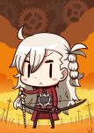1girl :< ahoge archer archer_(cosplay) blush_stickers braid chibi cosplay fate/grand_order fate/stay_night fate_(series) highres l.n long_hair looking_at_viewer olga_marie_animusphere riyo_(lyomsnpmp)_(style) side_braid solo unlimited_blade_works v-shaped_eyebrows weapon white_hair