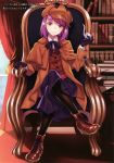 1girl absurdres bangs black_gloves black_legwear black_ribbon black_skirt blurry blurry_background bookshelf boots brown_capelet brown_coat brown_footwear brown_headwear chair coat collared_shirt cosplay dress_shirt eyebrows_visible_through_hair fate/grand_order fate_(series) full_body gloves hat head_tilt helena_blavatsky_(fate/grand_order) highres holding indoors long_skirt looking_at_viewer matsuryuu neck_ribbon open_clothes open_coat pantyhose pink_hair pleated_skirt ribbon sherlock_holmes sherlock_holmes_(cosplay) shiny shiny_hair shirt short_hair sitting skirt smile solo violet_eyes white_shirt wing_collar