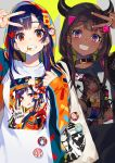 2girls artist_name bangs black_shirt brown_hair buttons candy choker dark_skin eyebrows_visible_through_hair food green_nails hair_ornament hairclip highres holding hood hoodie horns lollipop long_sleeves looking_at_viewer mika_pikazo multicolored multicolored_eyes multiple_girls nail_polish neck_belt original pink_eyes purple_hair red_eyes red_nails sharp_teeth shirt smile tag teeth white_shirt zipper