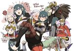 2girls ankle_boots artist_request blonde_hair blue_eyes blush boots breasts byleth_(fire_emblem) byleth_(fire_emblem)_(female) cape carrying chibi couple edelgard_von_hresvelg embarrassed fire_emblem fire_emblem:_three_houses gloves hair_ornament hair_ribbon horns long_hair monster multiple_girls navel older pantyhose red_legwear ribbon shorts simple_background smile spoilers uniform yuri