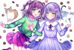 2girls :d alternate_hairstyle animal animal_print bang_dream! bangs blue_dress blush bow brown_hair bunny_print cat checkerboard_cookie clenched_hand clothes_writing cookie dress food frilled_shirt_collar frills green_eyes green_shirt grid_background hair_bow hair_ornament hand_up highres imai_lisa locked_arms long_hair long_sleeves looking_at_viewer minato_yukina multiple_girls neck_ribbon nennen open_mouth pink_bow pink_skirt pleated_dress print_shirt purple_neckwear ribbon shirt short_hair silver_hair skirt smile star star_hair_ornament two_side_up white_background yellow_eyes younger