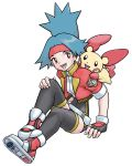 1girl :d artist_request black_gloves black_legwear blue_hair breasts creature fingerless_gloves full_body gen_3_pokemon gloves hairband happy highres hinata_(pokemon) official_art open_mouth plusle pokemon pokemon_(creature) pokemon_(game) pokemon_on_shoulder pokemon_ranger pokemon_ranger_1 pokemon_ranger_uniform red_eyes shoes sitting small_breasts smile thigh-highs transparent_background