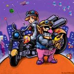 1boy 1girl alien_bunny animal artist_name biker_clothes bird black_eyes blue_eyes bonus-kun car cat couple deviantart fat_man fire fronk gloves goggles goggles_on_head goggles_on_headwear helicopter helmet human intelligent_systems labcoat looking_at_another love lowres made_in_wario mona_(warioware) motorcycle night nighttime_allergies_girl nintendo pants pointy_ears pyoro rabbit teeth wario warioware watermelon