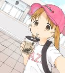 :t bangs baseball_cap black_backpack brown_eyes bubble_tea clothes_writing cup disposable_cup drink drinking drinking_straw eyebrows_visible_through_hair hat highres holding holding_cup ichigo_mashimaro looking_at_viewer matsuoka_miu nanoningen_(anapoko) orange_hair outdoors parted_bangs pink_headwear self_shot twintails