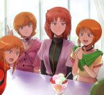 4girls :d bangs blue_eyes brown_hair closed_mouth collarbone crop_top elpeo_puru food gacha-m green_eyes gundam gundam_unicorn gundam_zz hands_clasped haro head_tilt ice_cream index_finger_raised indoors interlocked_fingers jewelry long_hair marida_cruz midriff mineva_lao_zabi multiple_girls necklace open_mouth own_hands_together pilot_suit puru_two redhead shiny shiny_hair shirt short_hair short_sleeves sitting smile stomach sweatdrop yellow_shirt